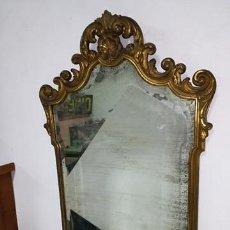 Antigüedades: CORNUCOPIA ESPEJO MADERA TALLADA PAN ORO. Lote 112470291
