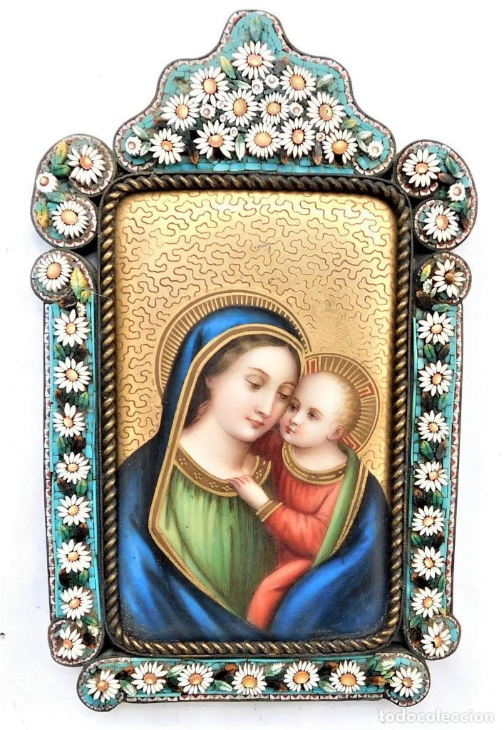 pintura sobre placa de porcelana de la virgen y - Comprar Marcos ...