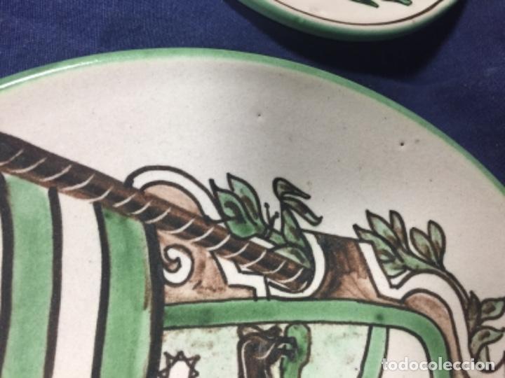 Antigüedades: domingo punter platos plato fluente ceramica vidriada para la casa regional de andalucia en Teruel - Foto 6 - 112495623