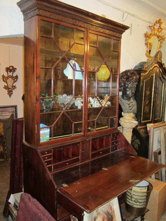 Antigüedades: Mueble canterano librería inglés en caoba, 1930's. 233 alto x 54 fondo x 120 ancho, - Foto 6 - 33414184