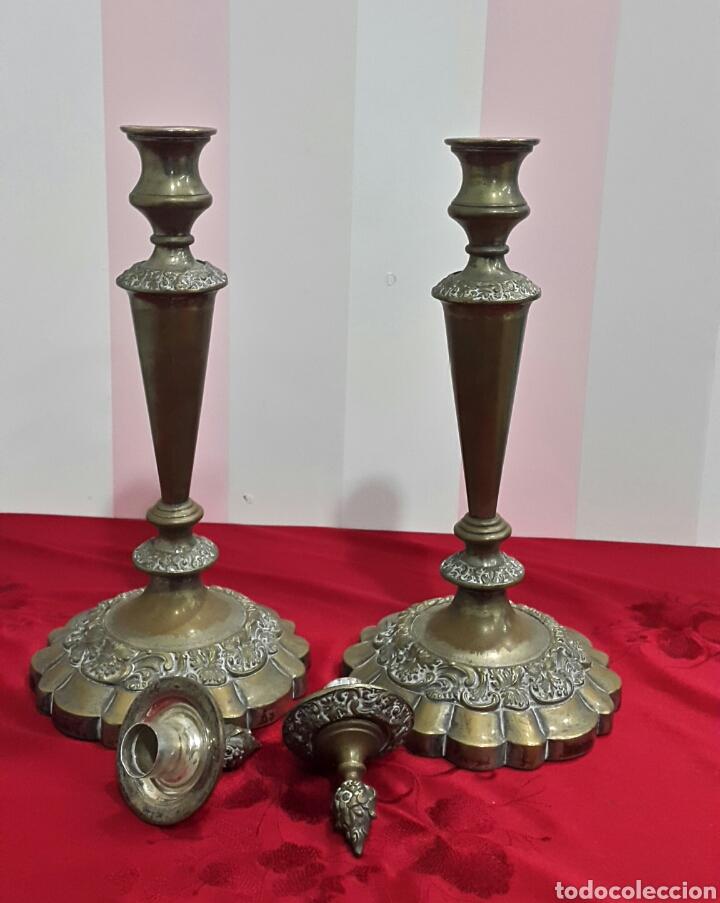 Antigüedades: ANTIGUOS CANDELABROS DE IGLESIA ALTAR - Foto 2 - 112546852