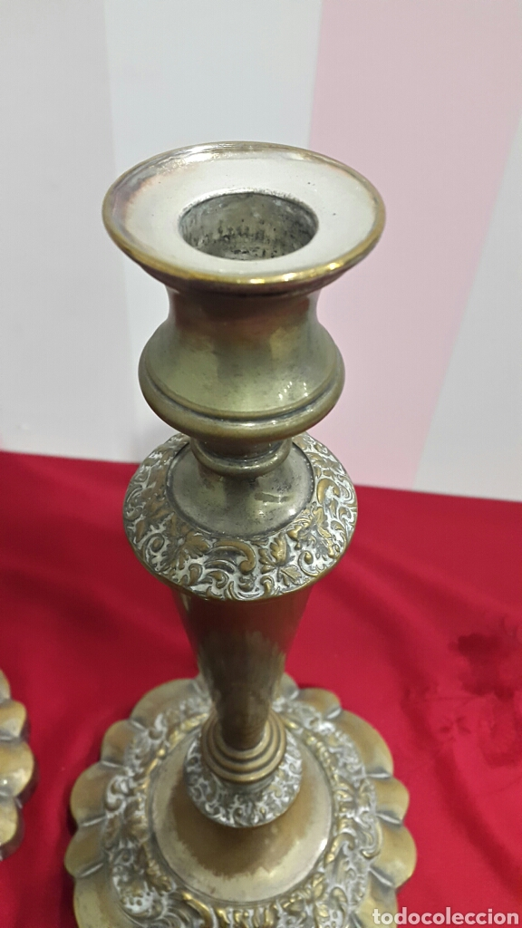 Antigüedades: ANTIGUOS CANDELABROS DE IGLESIA ALTAR - Foto 6 - 112546852