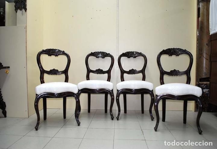 Antigüedades: JUEGO DE SILLAS ANTIGUAS DE COMEDOR EN MADERA DE CAOBA - Foto 3 - 112555371