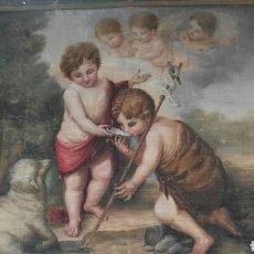 Antigüedades: TAPIZ PINTADO AL ÓLEO MUY ANTIGUO RELIGIOSO. Lote 112567648