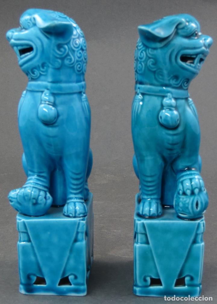 Antigüedades: Pareja Furias Foo cerámica China S XX - Foto 2 - 175026979