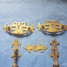 Antigüedades: PRECIOSO ANTIGUO CONJUNTO HERRAJES DE BRONCE PARA MUEBLE.. Lote 112688384