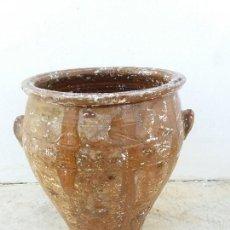 Antigüedades: ANTIGUO ORZA DE CERAMICA DE GUADIX GRANADA VIDRIADA Y LAÑADA. Lote 112704563