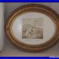 Antigüedades: MARCO ANTIGUO DORADO CON ORO FINO CON IMAGEN DE NIÑOS. Lote 112705663