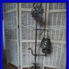 Antigüedades: LAMPARA DE HIERRO DE SUELO RENACIMIENTO. Lote 112709787