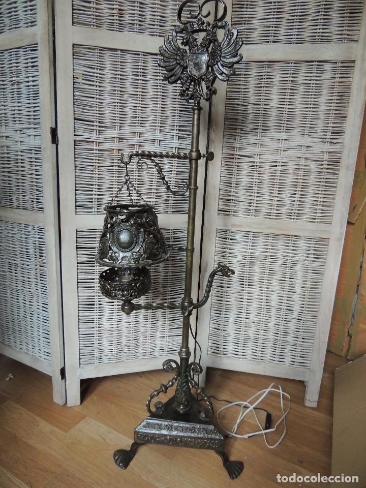 Antigüedades: LAMPARA DE HIERRO DE SUELO RENACIMIENTO - Foto 5 - 112709787