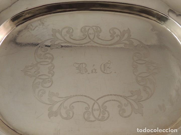 Antigüedades: FUENTE BANDEJA DE PLATA MACIZA FIRMADA PLATERO CASAS DE BARCELONA FIN XIX - Foto 3 - 112710503