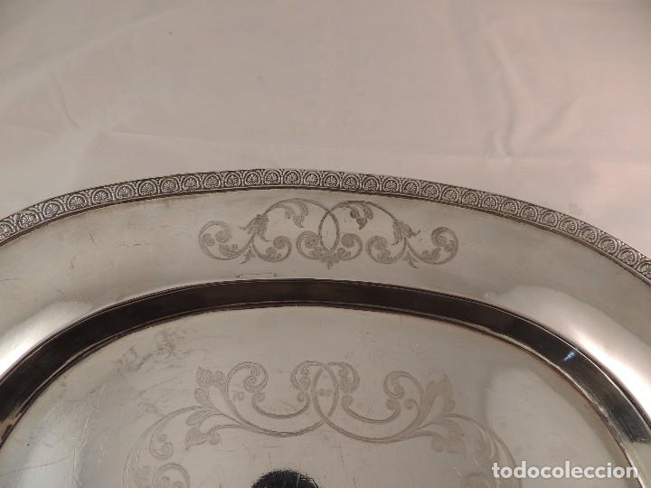 Antigüedades: FUENTE BANDEJA DE PLATA MACIZA FIRMADA PLATERO CASAS DE BARCELONA FIN XIX - Foto 4 - 112710503