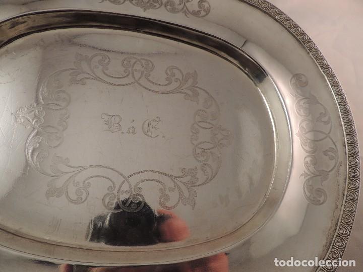 Antigüedades: FUENTE BANDEJA DE PLATA MACIZA FIRMADA PLATERO CASAS DE BARCELONA FIN XIX - Foto 6 - 112710503