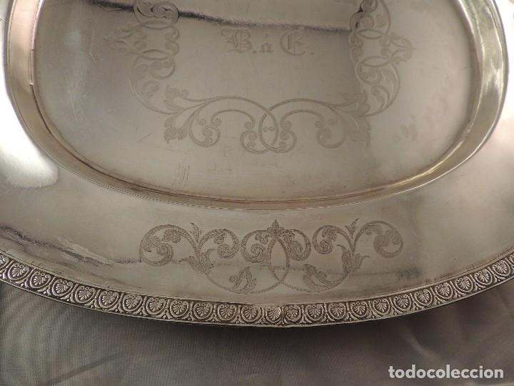 Antigüedades: FUENTE BANDEJA DE PLATA MACIZA FIRMADA PLATERO CASAS DE BARCELONA FIN XIX - Foto 7 - 112710503