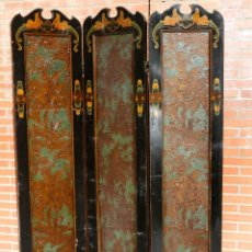 Antigüedades: ANTIGUO BIOMBO DE MOTIVOS ORIENTALES. 170 X 120 CM. Lote 112732835