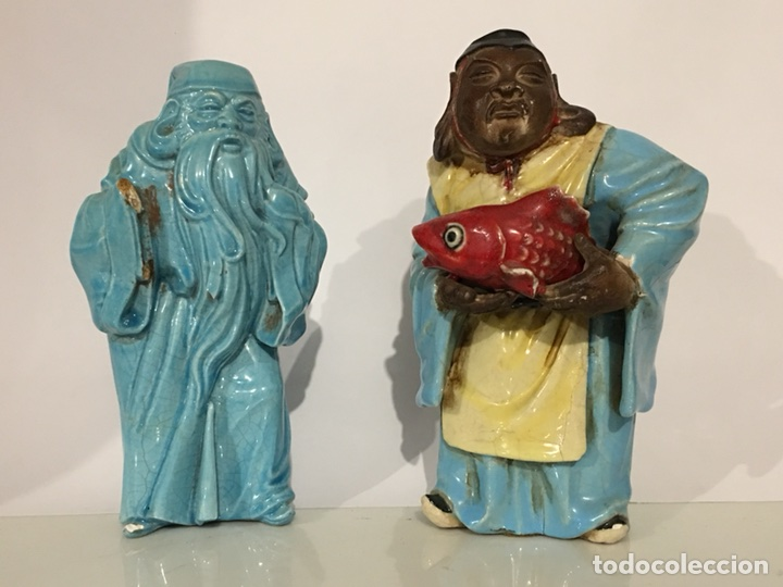 ANTIGUA FIGURA DE CHINO - LOTE DE DOS FIGURAS - DIOS CHINO - CERAMICA DE ALGORA (Antigüedades - Porcelanas y Cerámicas - Alcora)