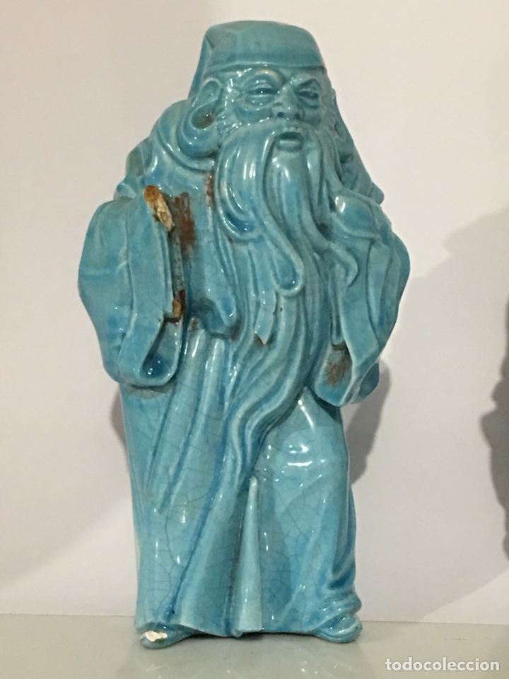 Antigüedades: ANTIGUA FIGURA DE CHINO - LOTE DE DOS FIGURAS - DIOS CHINO - CERAMICA DE ALGORA - Foto 4 - 158151220