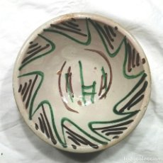 Antigüedades: CUENCO PLATO CERÁMICA TERUEL S XVIII DECORACIÓN VERDE Y MANGANESO. MED. 18 X 7 CM. Lote 112775183