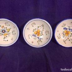 Antigüedades: 3 CUENCOS CERAMICA TALAVERA DE LA REINA FLOR PATATA ALFAR SASO MITAD S XX 4,5X16,5CMS. Lote 112780019