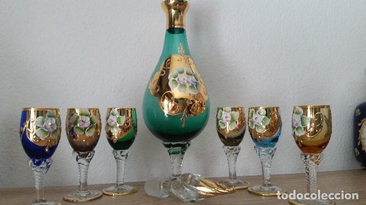 PRECIOSO Y MUY ELEGANTE JUEGO DE CRISTAL MORANO HECHO Y PINTADO A MANO ANOS 40,50 (Antigüedades - Cristal y Vidrio - Murano)