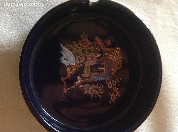 CENICERO ANTIGUO DE PORCELANA JAPONESA SELLO FIRMA SATSUMA (Antigüedades - Porcelana y Cerámica - Japón)
