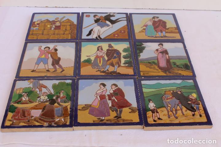 9 AZULEJOS DE MENSAQUE RODRIGUEZ FINALES SIGLO XIX (Antigüedades - Porcelanas y Cerámicas - Triana)