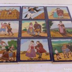 Antigüedades: 9 AZULEJOS DE MENSAQUE RODRIGUEZ FINALES SIGLO XIX. Lote 112806583