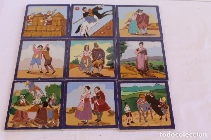 Antigüedades: 9 AZULEJOS DE MENSAQUE RODRIGUEZ FINALES SIGLO XIX - Foto 2 - 112806583