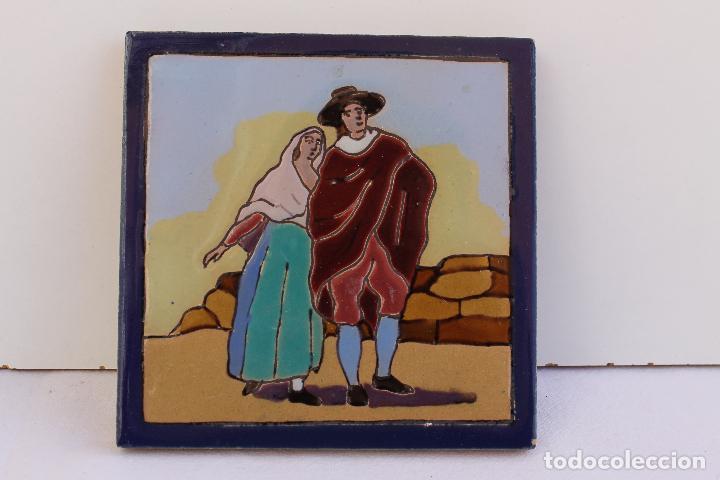 Antigüedades: 9 AZULEJOS DE MENSAQUE RODRIGUEZ FINALES SIGLO XIX - Foto 15 - 112806583