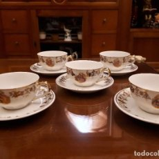 Antigüedades: ANTIGUO JUEGO DE DE TAZAS DE CAFE. ROYAL GIJON. Lote 112812139