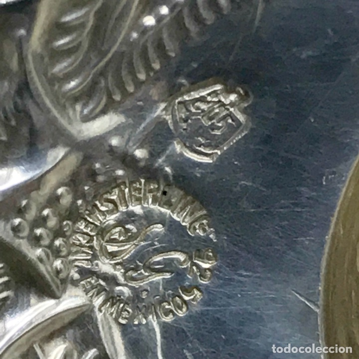 Antigüedades: SOMBRERO MEXICO PLATA LEY 925 7,5CM DIAMETRO 16 GRMS. DECORADO FLORAL - Foto 6 - 112827570