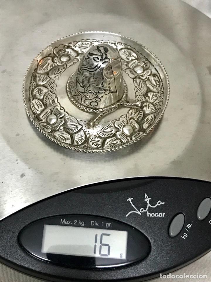 Antigüedades: SOMBRERO MEXICO PLATA LEY 925 7,5CM DIAMETRO 16 GRMS. DECORADO FLORAL - Foto 7 - 112827570