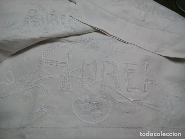 *ANTIGUA SÁBANA DE HILO .S XIX..1,95M (RF:LL-37/AE) (Antigüedades - Hogar y Decoración - Sábanas Antiguas)