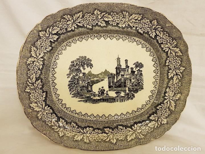 FUENTE DE SARGADELOS OVALADA. TERCERA ÉPOCA (1845-1870) . SERIE PAISAJES O VISTAS IMAGINARIAS (Antigüedades - Porcelanas y Cerámicas - Sargadelos)