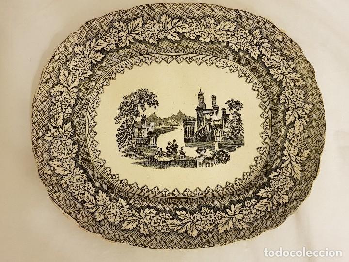 Antigüedades: Fuente de Sargadelos ovalada. Tercera época (1845-1870) . Serie paisajes o vistas imaginarias - Foto 2 - 112830159