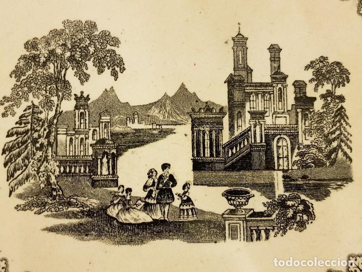 Antigüedades: Fuente de Sargadelos ovalada. Tercera época (1845-1870) . Serie paisajes o vistas imaginarias - Foto 3 - 112830159