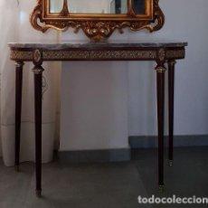 Antigüedades: CONSOLA DE CAOBA Y MARMOL. Lote 112887187