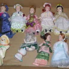 Muñecas Porcelana: LOTE DE 8 MUÑECAS PRECIOSAS MD 16 CM CON UN OSITO Y PAYASO DE CERAMICA. Lote 112898555