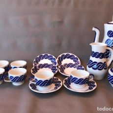 Antigüedades: JUEGO DE CAFE DE PORCELANA DE SARGADELOS LINEA DISEÑO CADRELO DE 6 SERVICIOS PERFECTO ESTADO. Lote 112916519