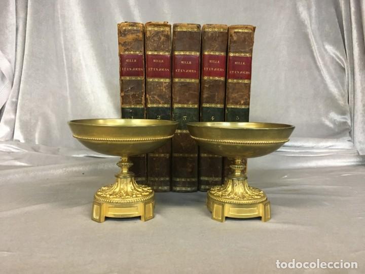 Antigüedades: Pareja de cassolettes copas de bronce dorado S. XIX Francia - Foto 2 - 112928487