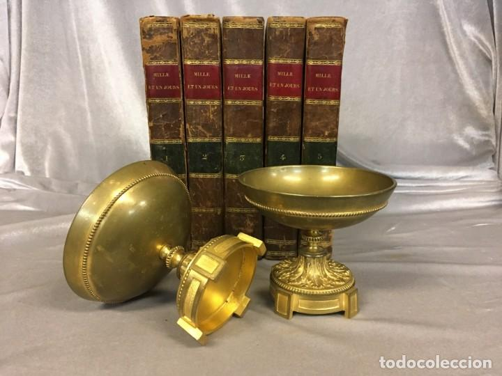 Antigüedades: Pareja de cassolettes copas de bronce dorado S. XIX Francia - Foto 4 - 112928487