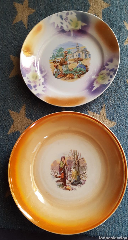 SAN CLAUDIO ENSALADERA Y PLATO DE REFLEJOS SXX AÑOS 30 (Antigüedades - Porcelanas y Cerámicas - San Claudio)
