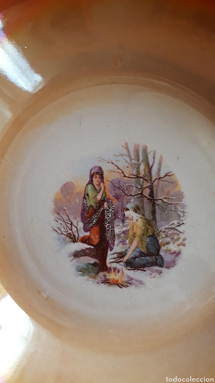 Antigüedades: San Claudio Ensaladera y plato de reflejos SXX Años 30 - Foto 2 - 112984352