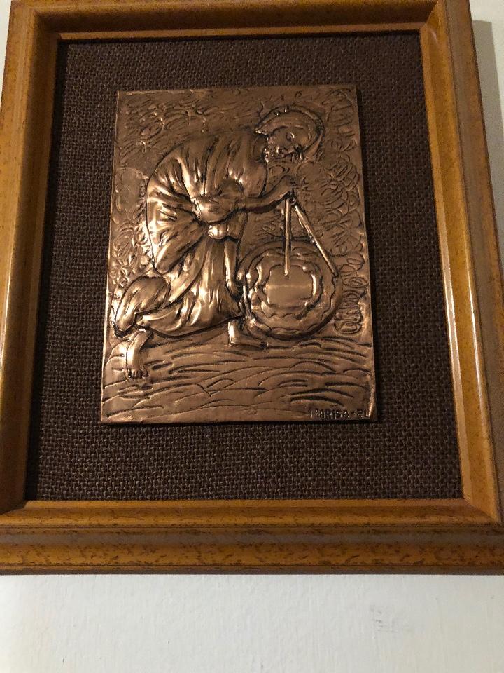 Antigüedades: Bajorelieve BronceCobre(Apostol con Compas) 27*31(85€) - Foto 2 - 104320291