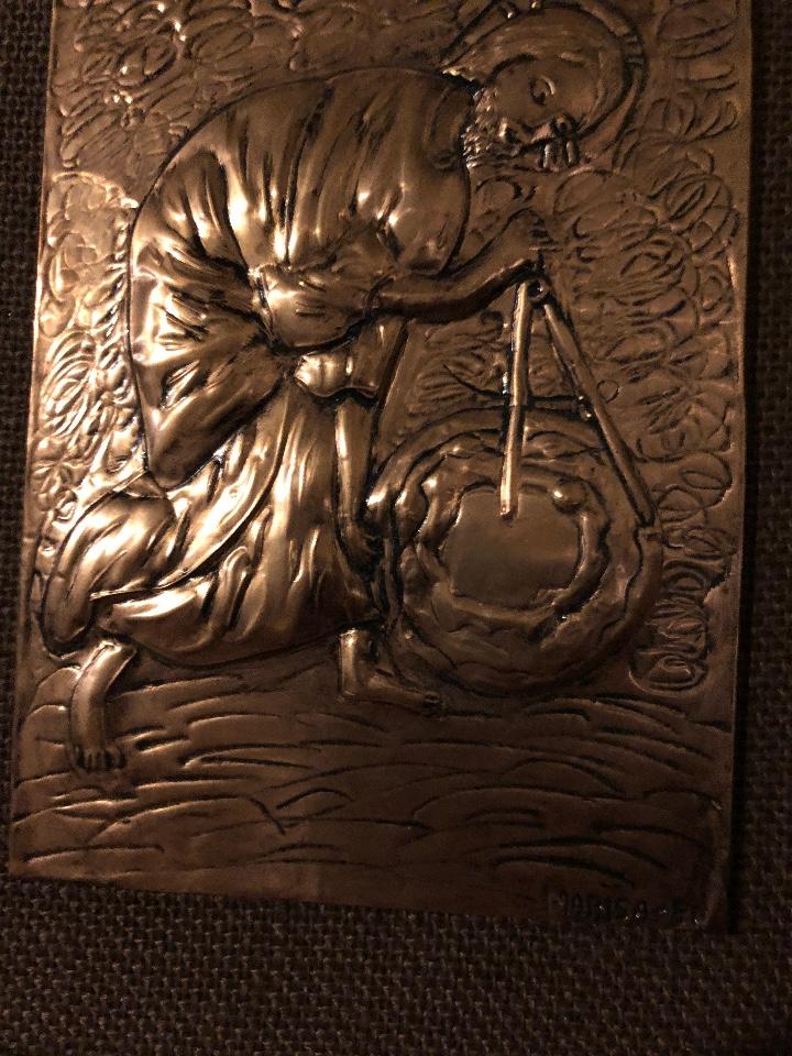 Antigüedades: Bajorelieve BronceCobre(Apostol con Compas) 27*31(85€) - Foto 3 - 104320291