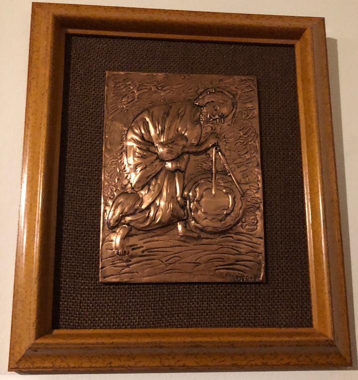 Antigüedades: Bajorelieve BronceCobre(Apostol con Compas) 27*31(85€) - Foto 5 - 104320291