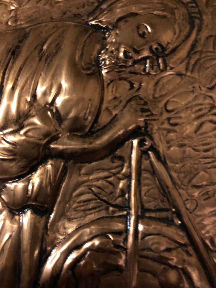 Antigüedades: Bajorelieve BronceCobre(Apostol con Compas) 27*31(85€) - Foto 10 - 104320291