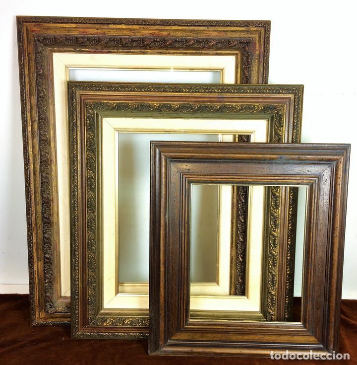 3 marcos. madera tallada. detalles dorados. esp - Comprar Marcos ...