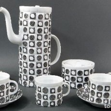 Antiquitäten - Juego de café Castro Sargadelos cinco servicios en tonos grises incompleto años 50 - 113071003