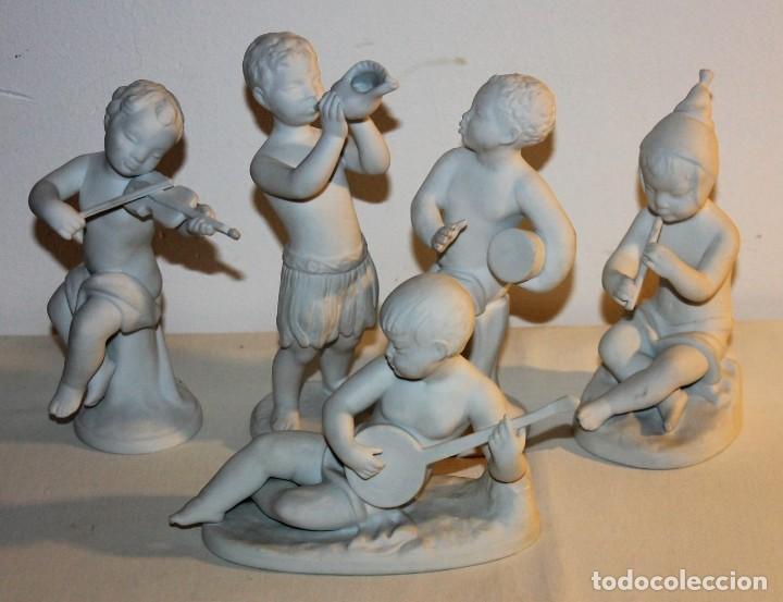 CONJUNTO DE 5 FIGURAS NIÑOS MÚSICOS EN PORCELANA BIDASOA PERFECTOS SIN FALTAS (Antigüedades - Hogar y Decoración - Figuras Antiguas)